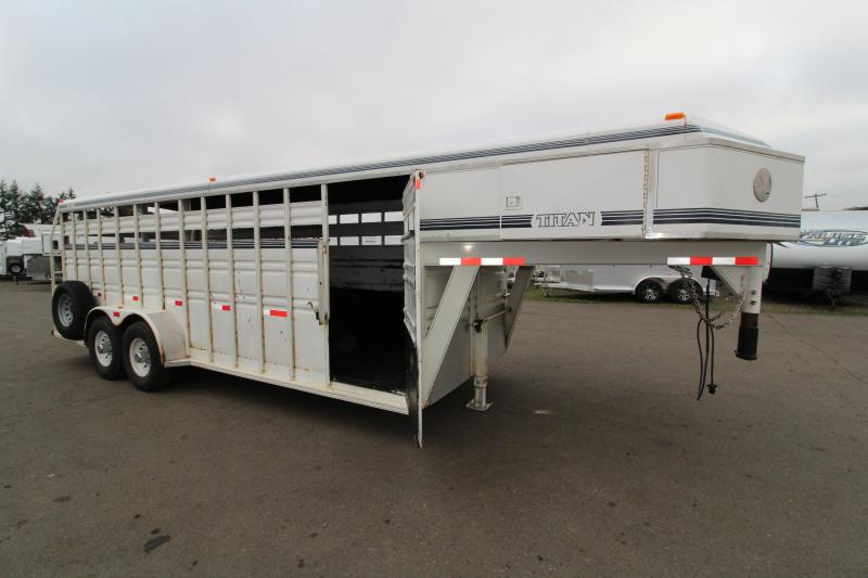 1994 Titan Trailers 20 ft Stock Livestock Trailer - Center Gate with Slider - Rear Gate with Slider - Rubber Floor Mats