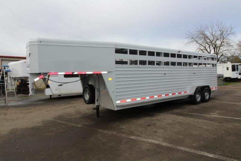 2019 Trails West Hotshot 24 ft. Steel Stock Trailer w/ Sliding Rear Gate - Extra Center Gate - Sort Doors in Center Gates