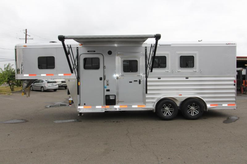 2018 Exiss Escape 7304 - 4.5ft SW Living Quarters 3 Horse Trailer - All Aluminum - Upgraded Easy Care Flooring - Power Awning - REDUCED PRICE BY $2400