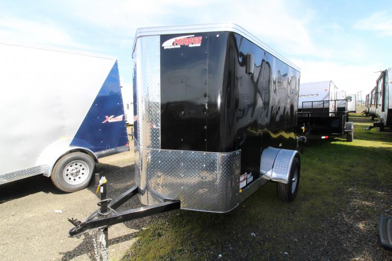 2019 Mirage  Xpres 5x8 Single Axle Enclosed Cargo Trailer - LED Lights - Single Rear Door - Black Exterior Color - Flat roof - V Nose - Xtra package
