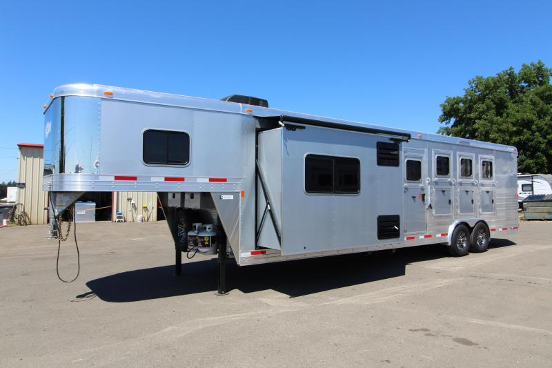 2018 Exiss 8412 - 12 ft SW w/ Slide Out - All Aluminum 4 Horse - Upgraded Interior! - NEW EASY CARE FLOORING - Metallic Gray Exterior - Lined and Insulated Ceiling - PRICE REDUCED BY $3095