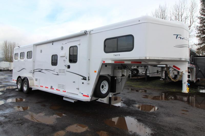 2018 Trails West Classic 8x13 Living Quarters 3 Horse Trailer w/ Mangers - Hoof Grip Easy Care Flooring