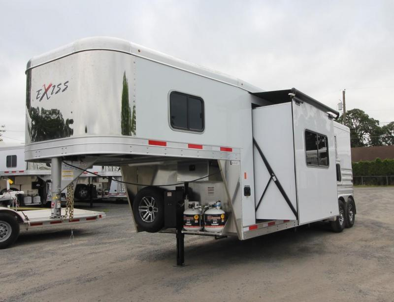 2019 Exiss Trailers 7210 - 10' SW Living Quarters w/ Slide Out PRICE REDUCED 2 Horse Trailer Easy Care Flooring - All Aluminum