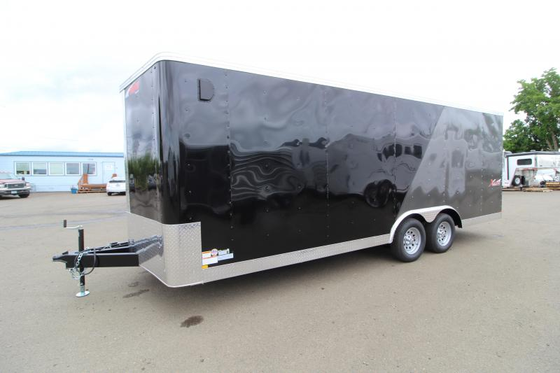 2019 Mirage Xpres 8.5 x 22 ft Enclosed Car Hauler Trailer - Spare Tire - Rear Ramp - Two Tone Exterior - Beavertail - Drop Axles - Tandem axle - V Nose - Flat roof