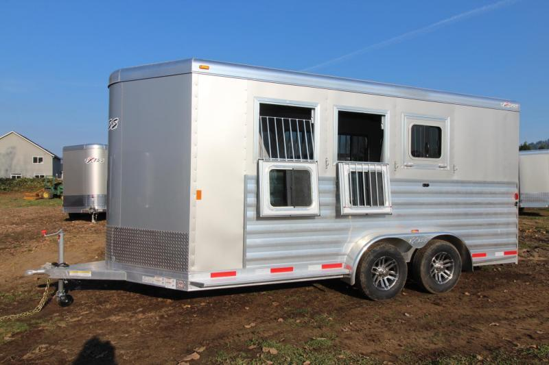 "2018 Exiss 730 - 3 Horse Trailer 7' 6"" Tall - Large Tack Room and a Rear Tack! - Polylast flooring"