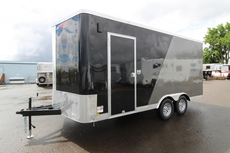 2019 Mirage Xpres 8.5 x 16 Enclosed Cargo Trailer- Side by side Package- Rear Ramp Door - Spare Tire - RV mandoor - V Nose and Flat Roof