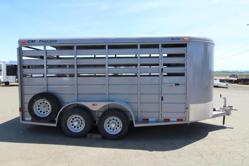 2016 CM Stocker 16 ' Steel Livestock Trailer - With Center Gate - Spare Tire