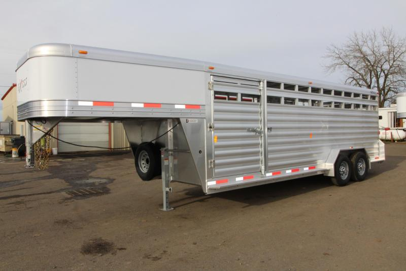 "2018 Exiss STK 7022 22' Stock Trailer - 6'8"" Tall - All Aluminum - Large Curb Side Escape Door - Center & Rear Gates with Sliding Sort Doors"