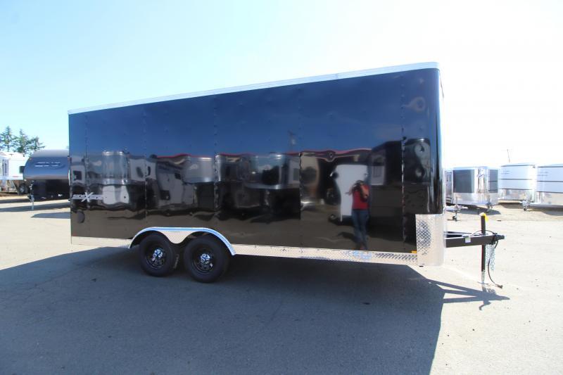 2019 Mirage Xpres 8.5x18 Enclosed Cargo Trailer - Side by side package - Black exterior - RV door - Rear ramp door - Interior tire mount - Spare tire