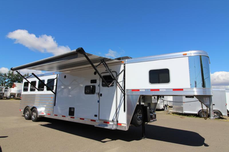 "2018 Exiss 7410 10' SW LQ   - 4 Horse All Aluminum Trailer - 7'8"" Tall - Power Awning - Aluminum Wheels - Easy Care Flooring - PRICE REDUCED"