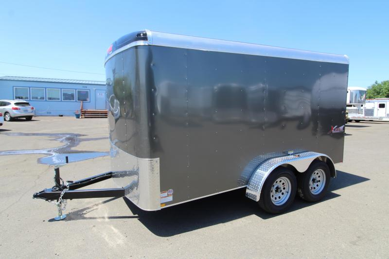 2020 Mirage Xcel 7x12 ft. Enclosed Cargo Trailer - Tandem Axle - Rear Ramp - Charcoal Exterior Color - Round roof - Flat Front