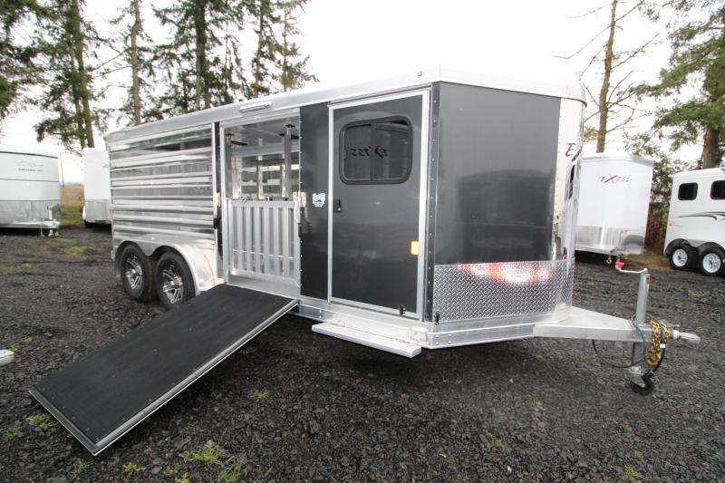 2019 Exiss 716A Exhibitor Low Profile Stock Combo Trailer - Side Entry Ramp- Full Width Rear Ramp - Removable Pen System
