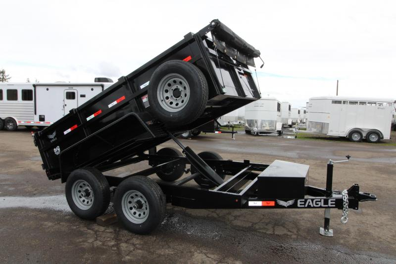 "2019 Eagle 6x10 Tandem Axle Dump Trailer - Brakes on both axles -  Tread plate fenders -  Stake pockets - 2"" Flat bar heavy duty Tie rail - Trickle charge line from tow vehice"