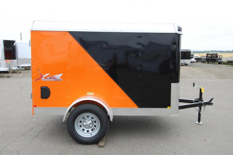 2019 Mirage Trailers Xcel 5x8 Enclosed Cargo Trailer - Orange and black exterior - Single axle- Round roof - Flat front - Camlock style double rear doors - Xtra package