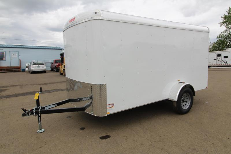 "2019 Mirage XCEL- 6 x 12 Enclosed Cargo Trailer - Double Rear Camlock style doors - White exterior skin - Barlock curbside mandoor -  24"" Starbright stoneguard - Radius front trailer style and LED domelights"