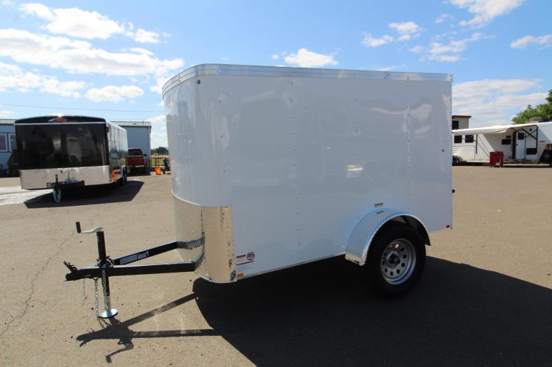 2019 Mirage Xpo 5x8 Enclosed Cargo Trailer - Flat top - Flat front - Single axle- Crystal white exterior - Single barlock style Rear door