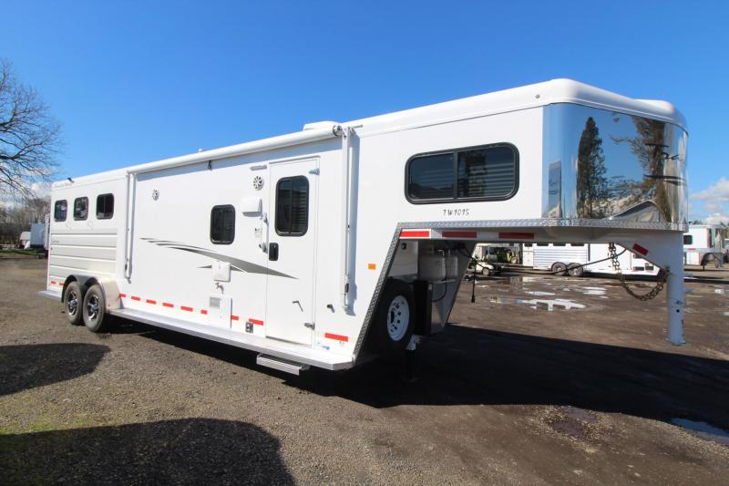 2018 Trails West Sierra 10x15 Living Quarters 3 Horse Trailer - Aluminum Skin Steel Frame