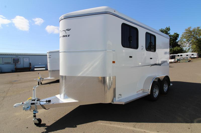 "2020 Thuro-Bilt Liberty 2 Horse Trailer -  Sealed and enclosed diagonal wall - 7'6"" Tall -  Diamond plate on tongue"