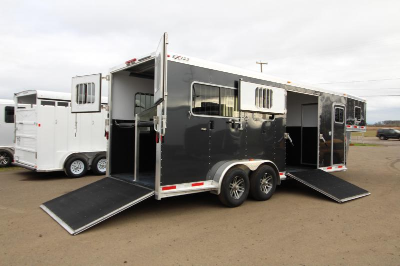 2019 Exiss Trailers 7200 SR - 2 plus 1 Horse Trailer - with Rear and Side Ramps - Metallic Black Exterior Color - REDUCED PRICE