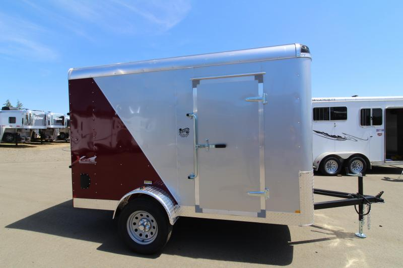 2019 Mirage Xcel 6x10 Single Axle Enclosed Cargo Trailer- Rear ramp door- Two tone Red and Silver exterior- Passenger side barlock door - Round roof- Flat front