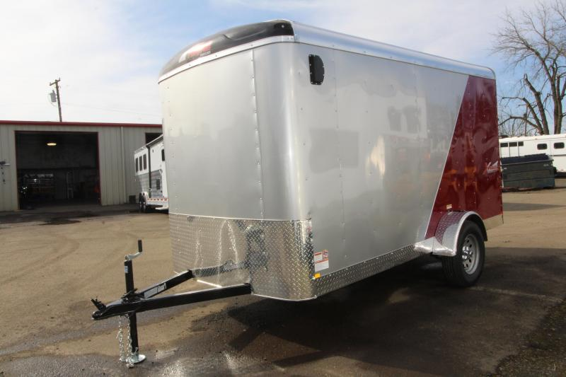 2019 Mirage X-Cel 6 x 12 Enclosed Cargo Trailer-  Red and Silver exterior- Dome roof- Flat front -  Rear Ramp door- Single Axle - Rv curbside door