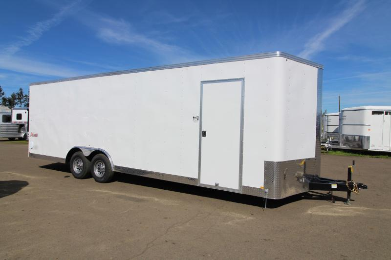 "2019 Mirage Trailers X- Press 8'6"" x 24 Car / Racing Trailer - Crystal White Exterior Color - Rear Ramp Door - Upgraded Car Carrier Package"
