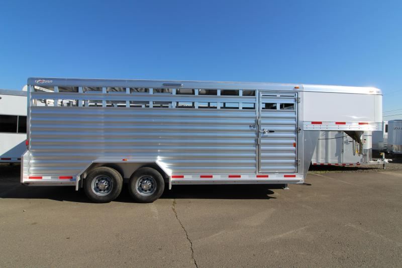 2019 Exiss 7020 All Aluminum 20' Livestock Trailer - with Escape Door on Curbside