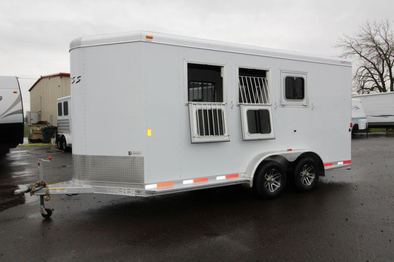 "2018 Exiss 730 - 3 Horse All Aluminum Added Height 7'8"" Tall - White Exterior - UPGRADED EASY CARE FLOORING Horse Trailer - Swing Out Saddle Rack - Air Flow Dividers - PRICE REDUCED BY $800"