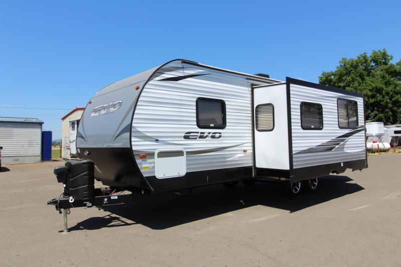2018 Evo Travel Trailer 2550 - Arctic Package - Solar Power -  Back Up Camera Prep - Storage Plus Door - Aluminum Wheels - Silver Birch Interior Decor - PRICE REDUCED BY $1000