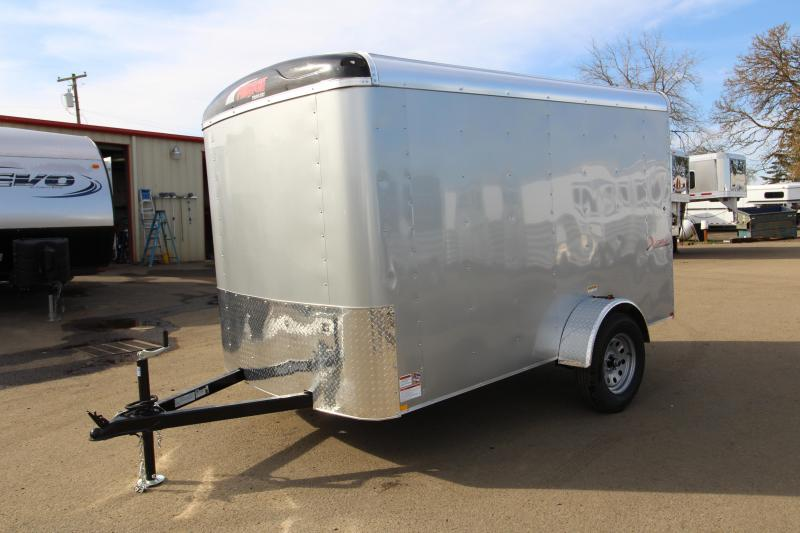 2019 Mirage X-Cel 6 x 10 Enclosed Cargo Trailer - Diamond Ice Exterior Color - Rear double doors- Single Axle-  Bar lock mandoor on curbside -  All LED lights - Round roof - Flat front