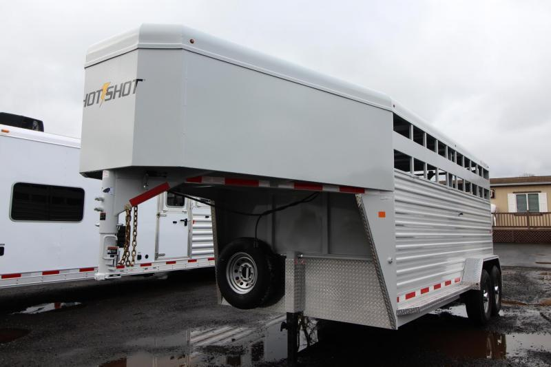 2018 Trails West Hotshot 16ft Steel Livestock Trailer - Aluminum Roof - Center Gate with Sort Door - 2 LED Load Lights