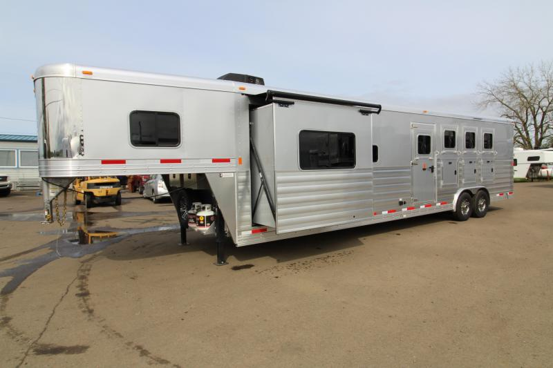 2018 Exiss Trailers 8414 - 4  Horse Trailer 14' SW LQ - Slide Out - All Aluminum - Swing Out Saddle Rack - Easy Care Flooring - Silver Exterior Color - TOTAL PRICE REDUCTION OF $2000