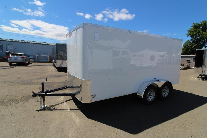 2019 Mirage Xpo 7x14 Enclosed Cargo Trailer- Crystal white exterior-  Man door w/ barlock -  Flat roof - Flat front -  Package 2 - Side air flow vents - Tandem axle