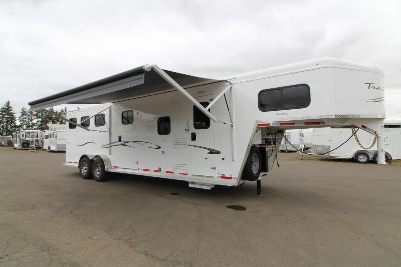2020 Trails West 10x10 LQ 3 Horse Trailer -  Side Tack - Power Awning Upgraded - Easy Care Flooring - Fold Out Couch - Escape Door
