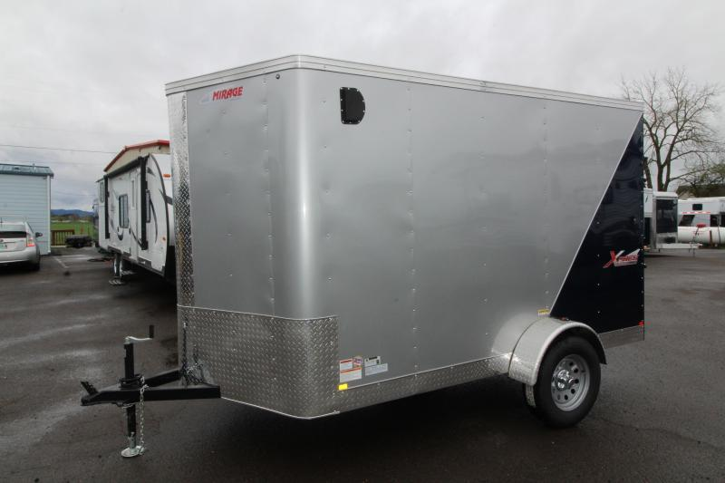 2019 Mirage Xpres 6x10 SA Utility Trailer - Curbside RV mandoor - Ramp rear door- Diamond ice/Indigo blue exterior skin - Single Spring idler axle - Flat roof - V Nose