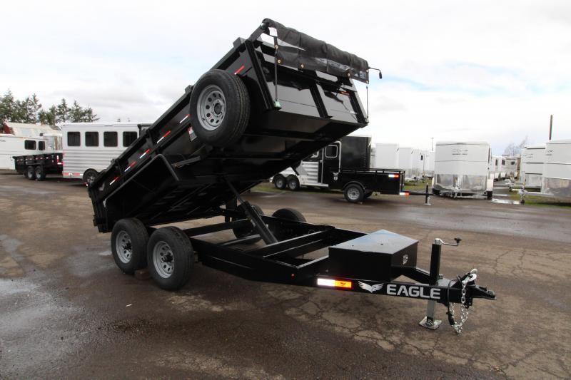 "2019 Eagle 6x12 Tandem Axle Dump Trailer 10k w/ Mesh Roll Tarp Cover - 22860 lbs Dry weight - Trailer brakes - 2"" Flat bar heavy duty tie rail -  Stake pockets - Trickle charge line from tow vehicle - HD Deep cycle battery - Lockable tongue box - PRICE RE"