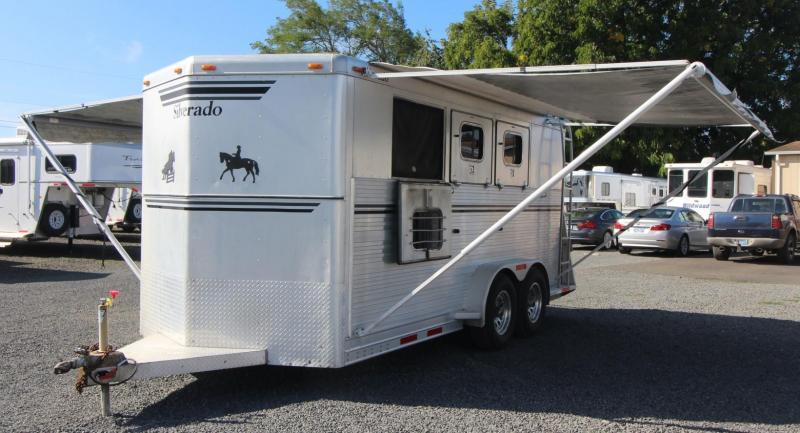 1995 Silverado Aluminum 3 Horse Trailer - 2 Awnings! - Rear Tack