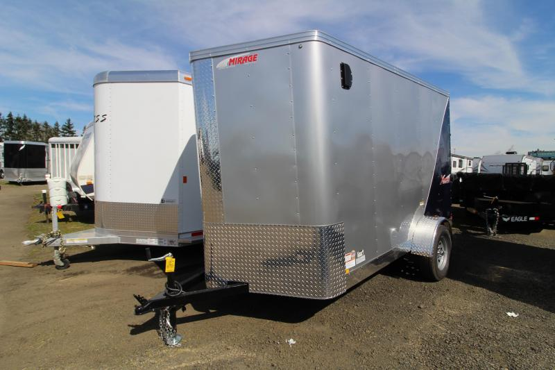 2019 Mirage Trailers X-Pres 6 x 10 Enclosed Cargo Trailer - With Rear Ramp - Curb Side Man Door - Diamond Ice & Indigo Blue Exterior Color