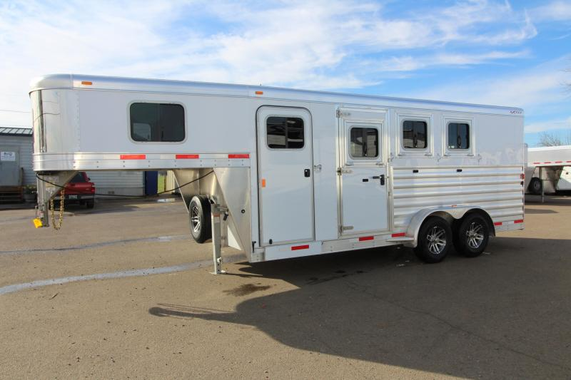 "2018 Exiss 7300 - 3 Horse All Aluminum Trailer - 7'2"" Tall - Escape Door - Stud Wall- Easy Care Flooring - Tail Side Drop Down Feed Doors"