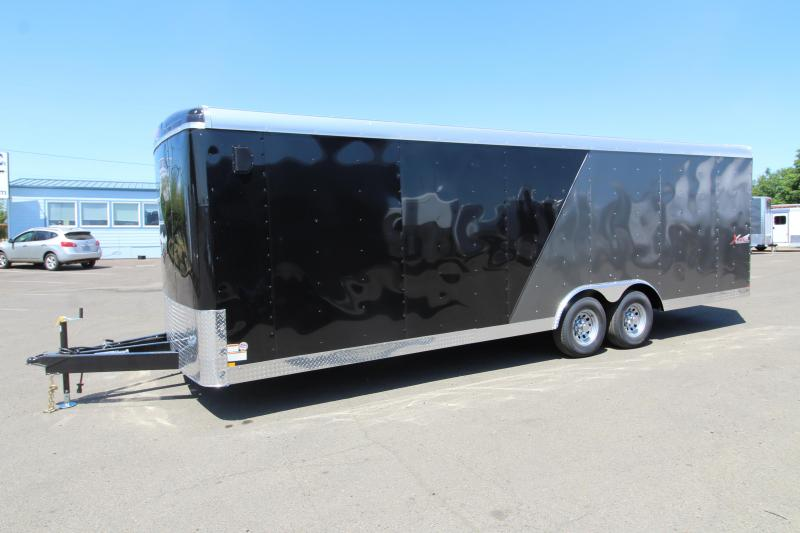"2020 Mirage Xcel 8.5x24 Car Hauler Trailer - Steel Frame Aluminum Skin - Flat Nose and Round Roof - 4"" Drop Axle - Dual Colored Exterior Side Sheets - Roof and Side Vents - Tandem axle"