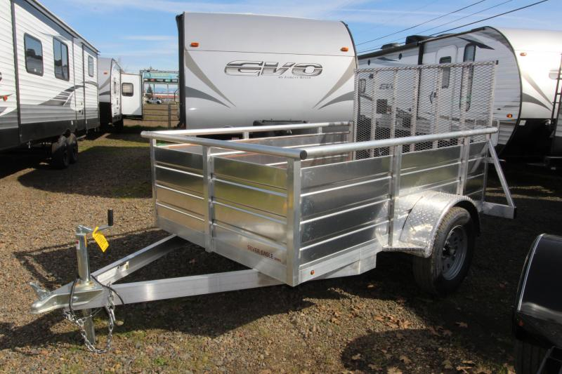 2019 Eagle 5x8 Single Axle Ultralite Utility Trailer - 2x6 Fir Decking - 4' Expanded Aluminum ramp - Sealed beam LED lighting - Chrome caps and lug nuts - Aluminum construction