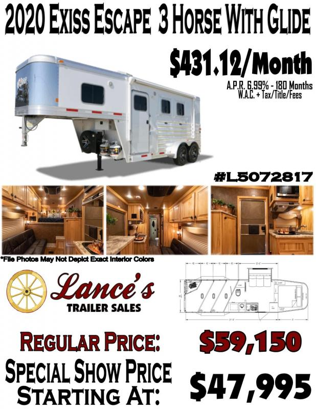 2020 Exiss Escape 3 Horse w/ 10' Shortwall Living Quarters