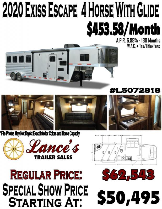 2020 Exiss Endeavor - 8'-wide- 4 Horse w/ 10' Shortwall with Slide Living Quarters