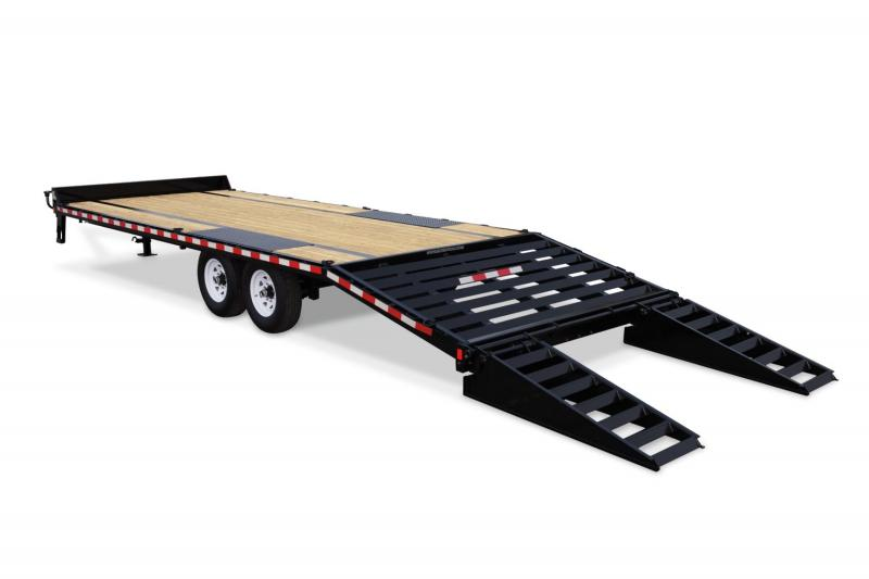 2019 Sure-Trac 8.5 x 20 + 5 15K Heavy Duty Low Profile Beavertail Deckover Equipment Trailer 2019237