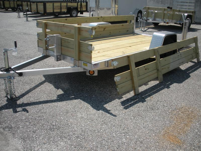 "2019 Quality Steel and Aluminum 62"" X 8' Aluminum w/ Removable Wood Sides Utility Trailer"