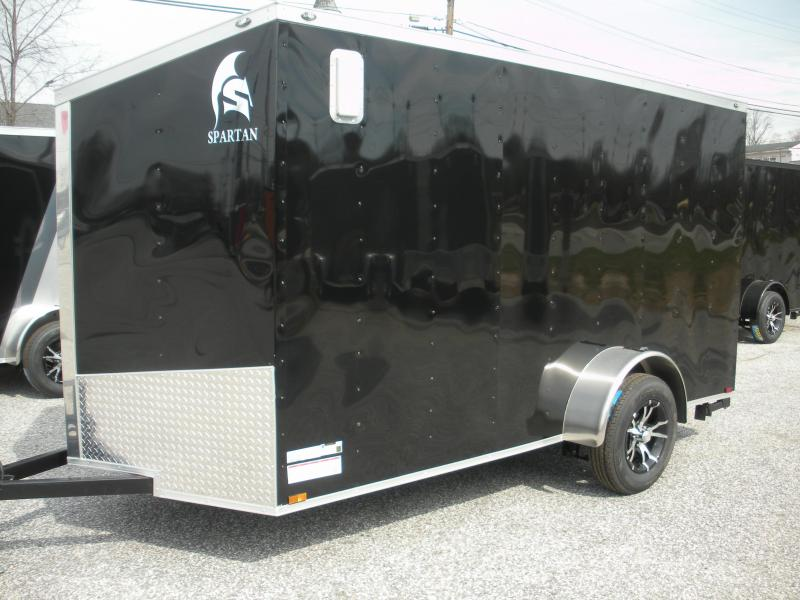2019 Spartan 6' X 12' Slanted V Nose Motorcycle Pkg. Enclosed Cargo Trailer
