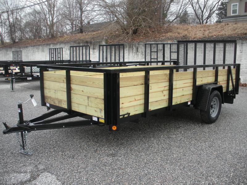 "2019 Quality Steel and Aluminum 74"" X 14' Wood High Side Utility Trailer"
