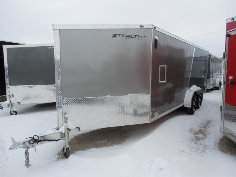 Overstock Luquidation Sale! 2016 Stealth 7x25 Predator Pewter/Indigo Blue Snowmobile Trailer