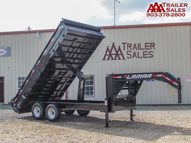 "2018 LAMAR Gooseneck Deck Over Dump Trailer 96""x16' GVWR 14000"