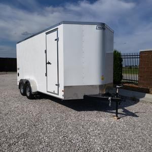 Haulmark 7x16 Tandem Axle Enclosed Cargo Trailer w/ Rear Ramp and 84